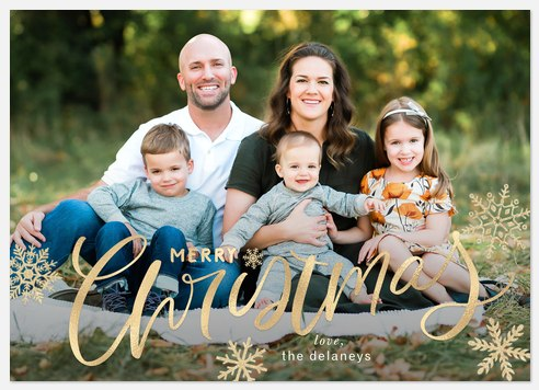 Golden Script Holiday Photo Cards