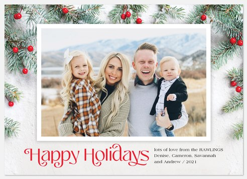 Snowy Pines Holiday Photo Cards