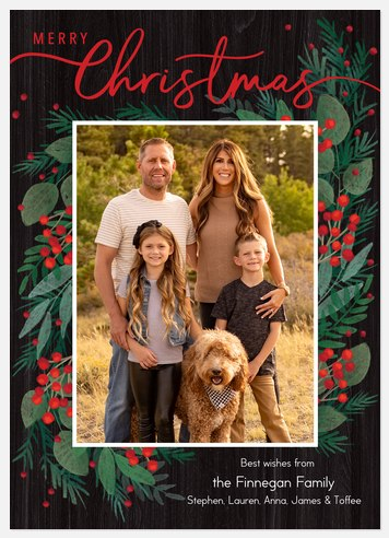 Illustrated Greens Holiday Photo Cards