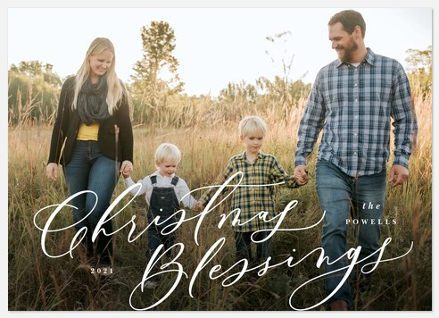Cursive Blessings Holiday Photo Cards