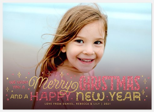 Wishes in Glitter Holiday Photo Cards
