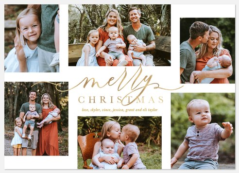 Script in Gold Holiday Photo Cards
