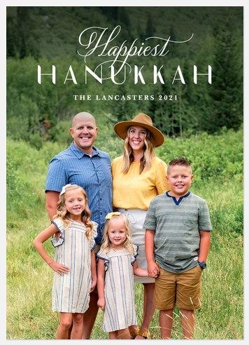 Fanciful Script Hanukkah Photo Cards