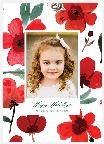 Winter Poppies Holiday Photo Cards