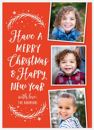 Woodcut Whimsy Holiday Photo Cards