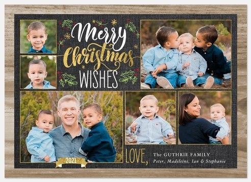 Woodgrain Wishes Holiday Photo Cards