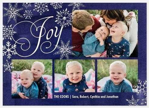 Silver Snowfall Holiday Photo Cards