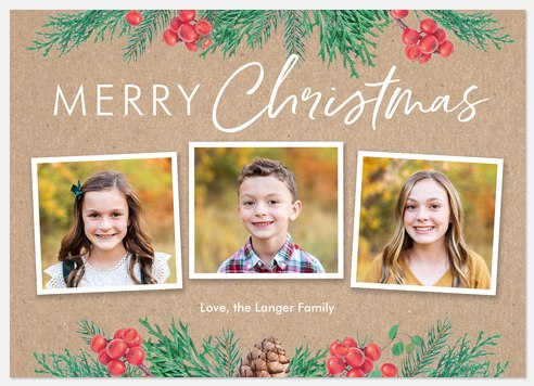 Berry Boughs Holiday Photo Cards