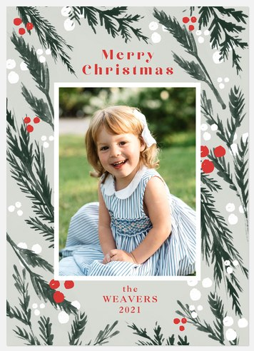 Boughs of Pine Holiday Photo Cards
