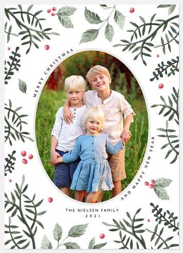 Oval Foliage Holiday Photo Cards
