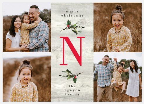 Monogramed Wishes Holiday Photo Cards