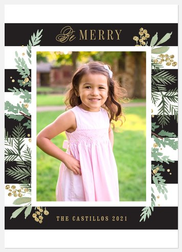 Florals & Stripes Holiday Photo Cards