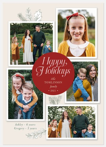 Ornamented Collage Holiday Photo Cards